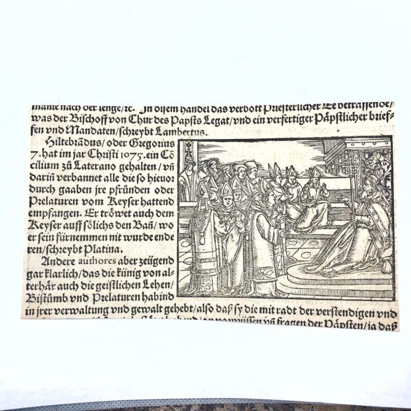 RARE Ca. 1500 Woodcut Print Munsters Cosmographia German Wood Block Incunabula C