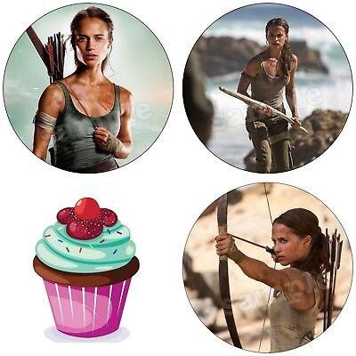 Raider Geburtstag (Tomb Raider Spiel Eßbar Tortenbild Party Deko Muffinaufleger Cupcake Geburtstag)