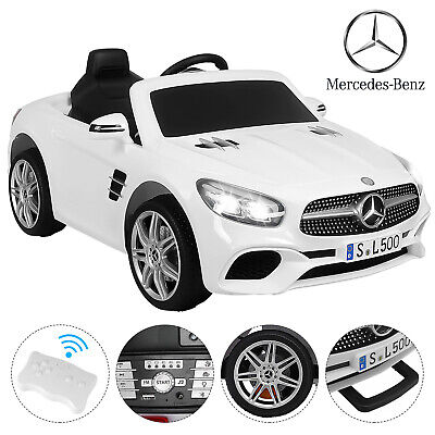 12V Electric Kids Ride On Toys Cars Mercedes Benz SL500 with RC Bluetooth White