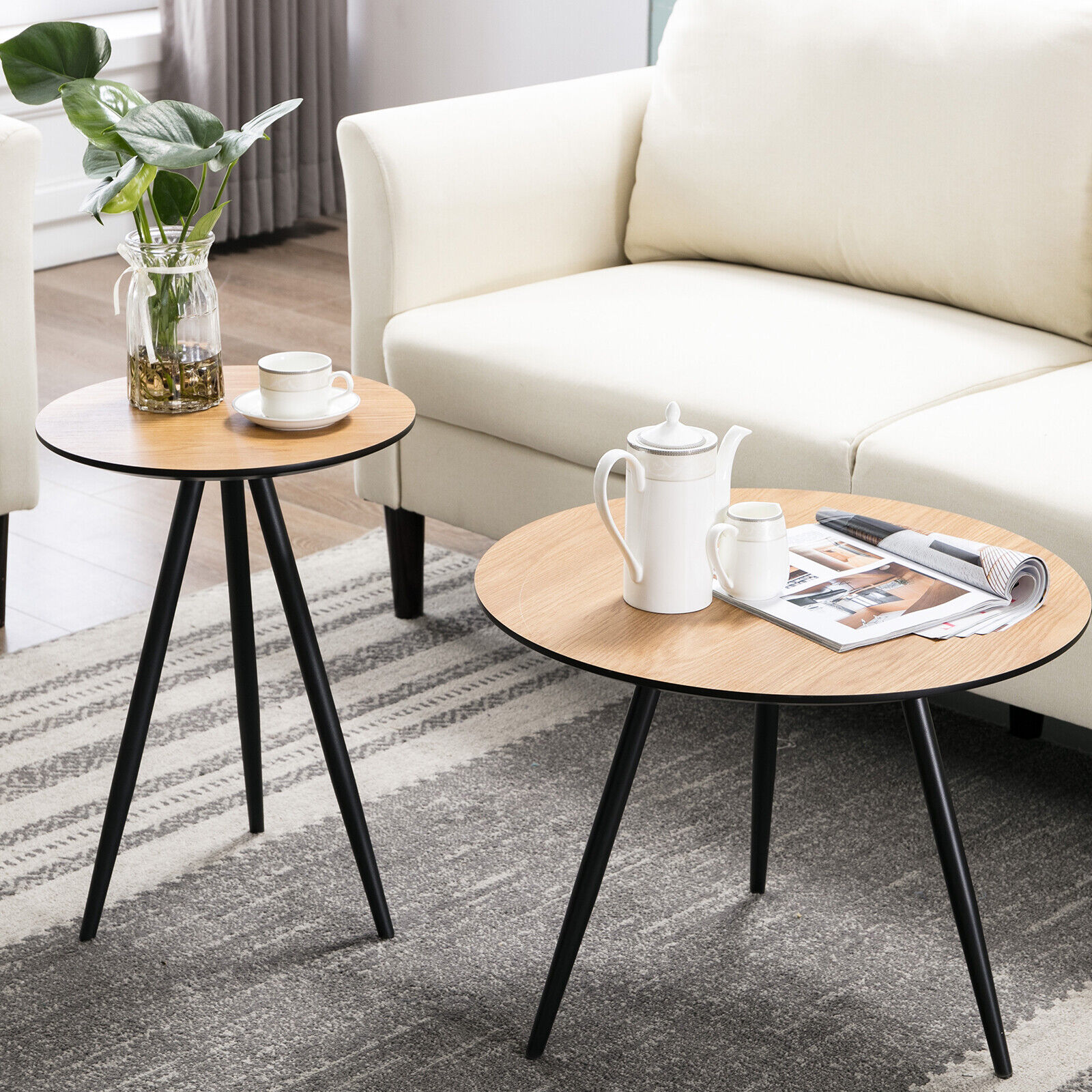 Round Side Coffee Table Desk Metal Legs Modern End Table Liv