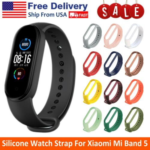 Silicone Sports Watch Band Strap Bracelet Replacement Strap For Xiaomi Mi Band 5