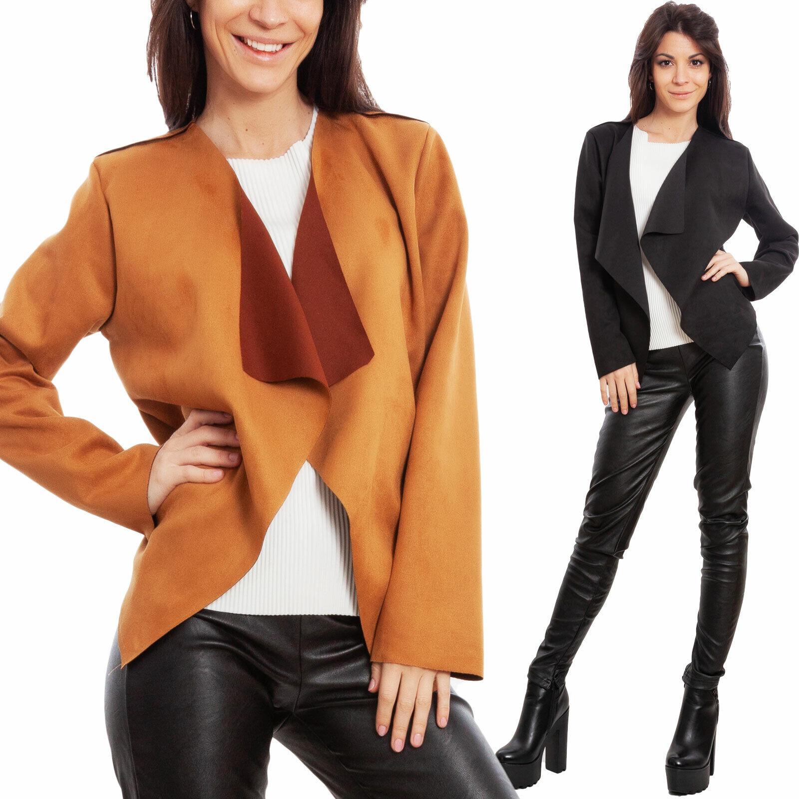Dettagli su Giacca donna eco pelle camoscio sintetico giacchetto coprispalle TOOCOOL WD 1350