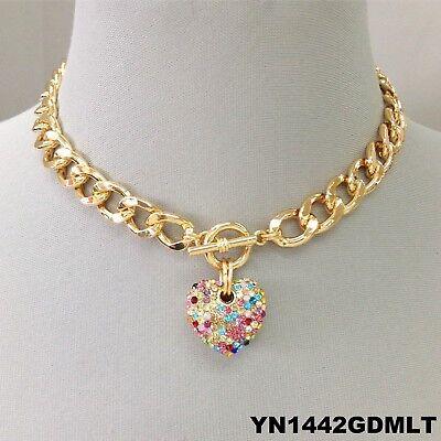 Gold Multi Finish (Multi Color Rhinestone Heart Pendant Gold Finish Chain Choker Style Necklace )