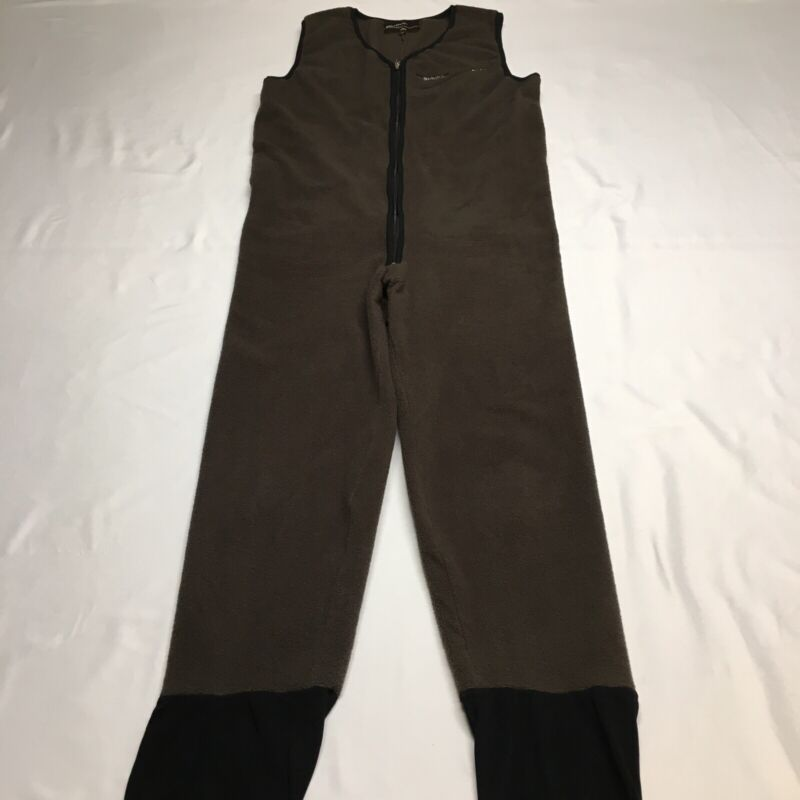 MINT Simms Brown Stretch Polartec Fleece One Piece Fishing Bib Suit Mens Medium