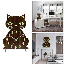 Luminous Cat Wall Clock Silent Night Light Numerals and Hands Glowing Decor