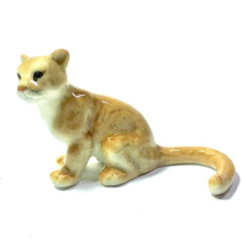 MINIATURE HANDPAINTED PUMAS TIGER STATUE WILD ANIMAL FIGURINE COLLECTIBLES DECOR