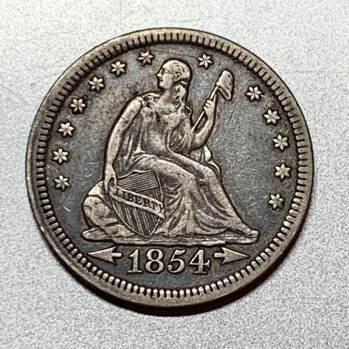 1854 ARROWS SEATED LIBERTY QUARTER  NICE DETAIL KEY TYPE COIN