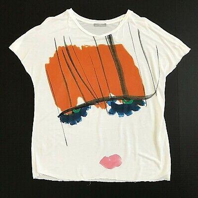 Zara Womens Short Sleeve Face T-shirt Top Size M