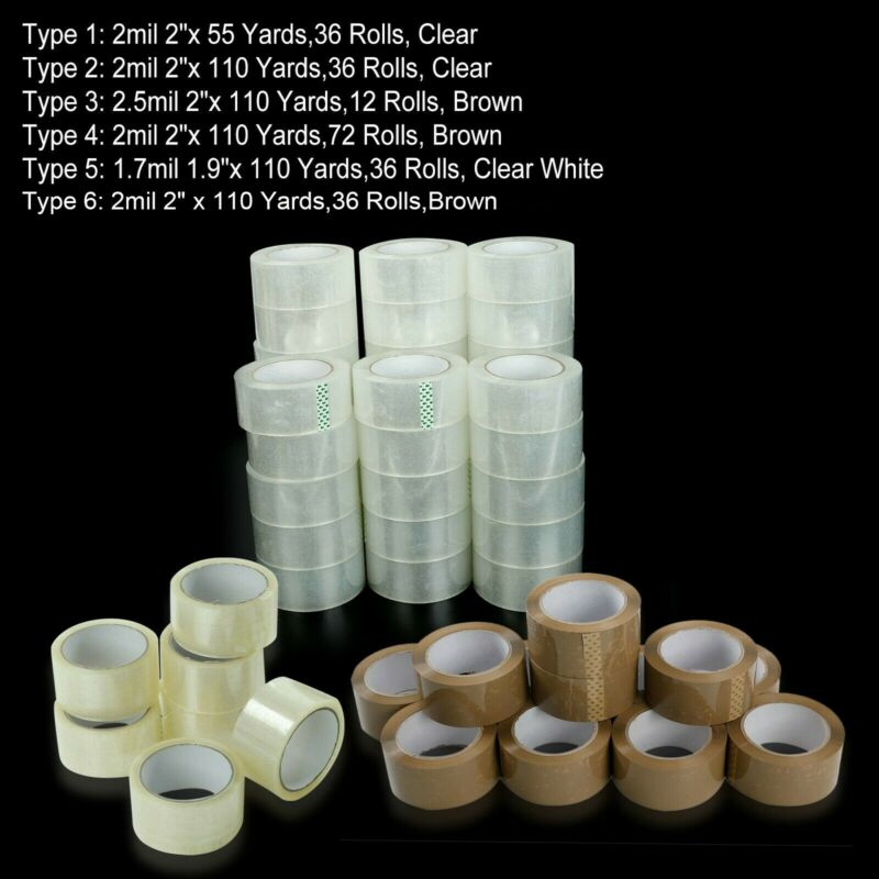 12-36-72 Rolls Clear Packing Packaging Carton Sealing Tape 2x110 Yards