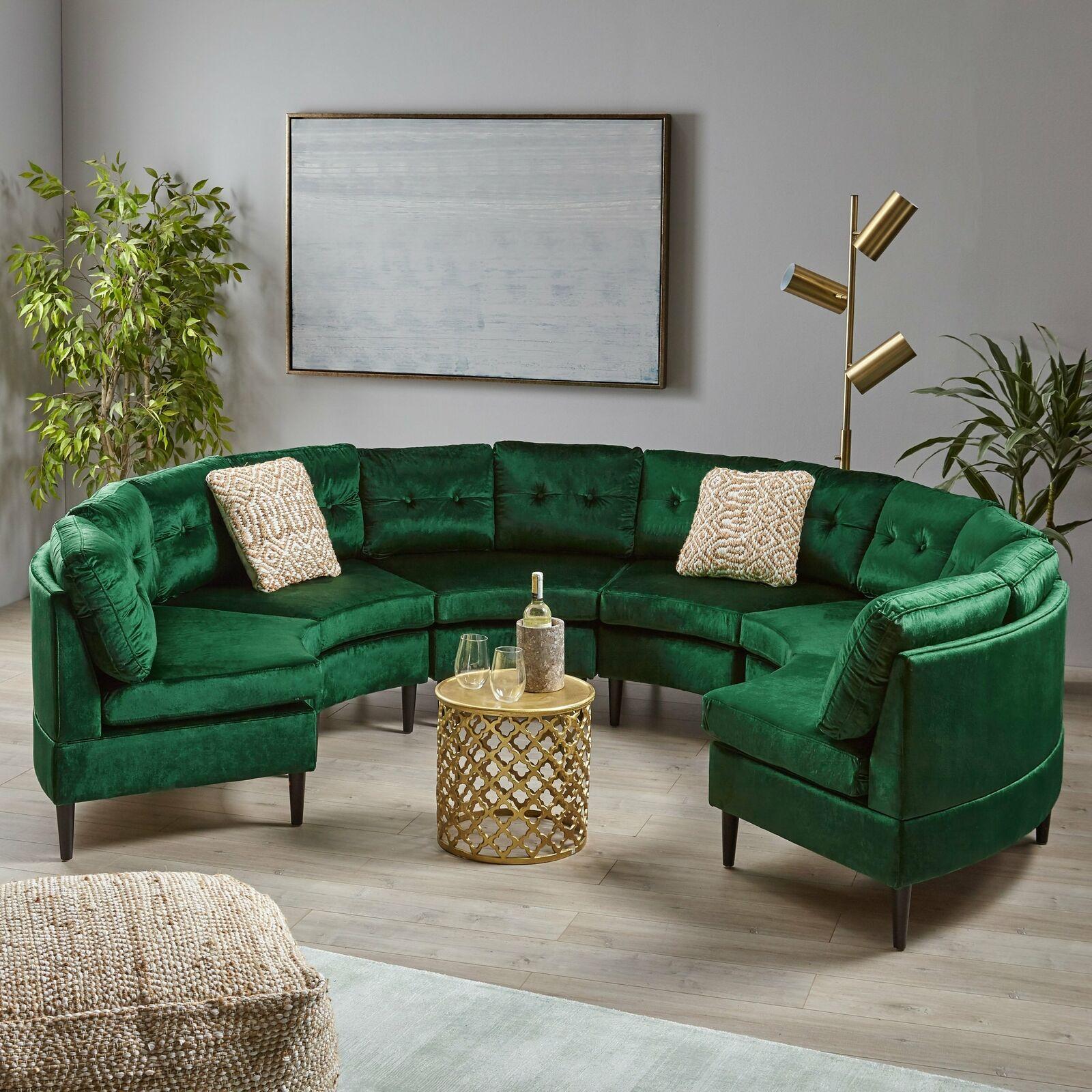 Modesty Glam Velvet Modular 6 Seater Sectional Furniture