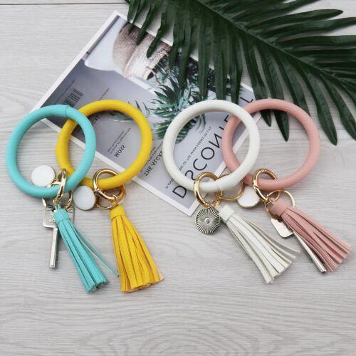 Key Chain Circle Tassel Corlor Wristlet Bracelet Women Girl