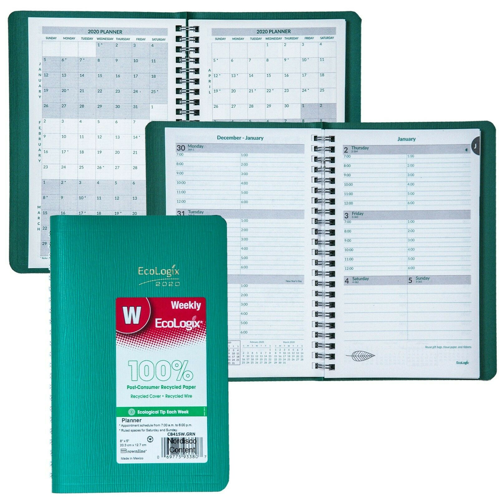 """2020 Brownline EcoLogix CB415W.GRN Weekly Planner, 8 x 5"""", G"""