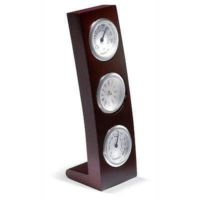 Vertical wooden Frame weather station Classic design Silver/Grey Gift Box