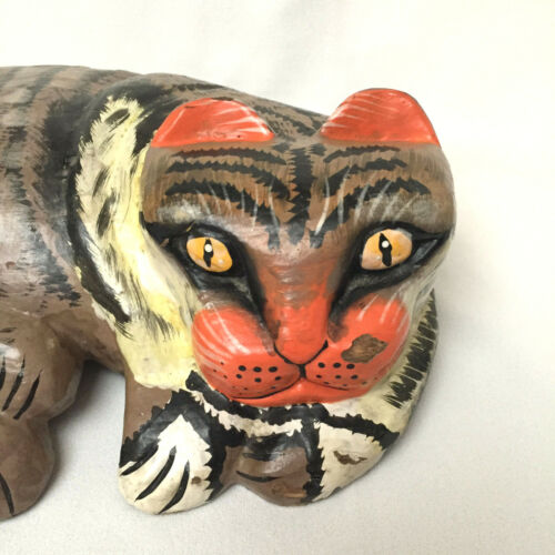 Vintage Folk Art Hand Painted Calico Cat