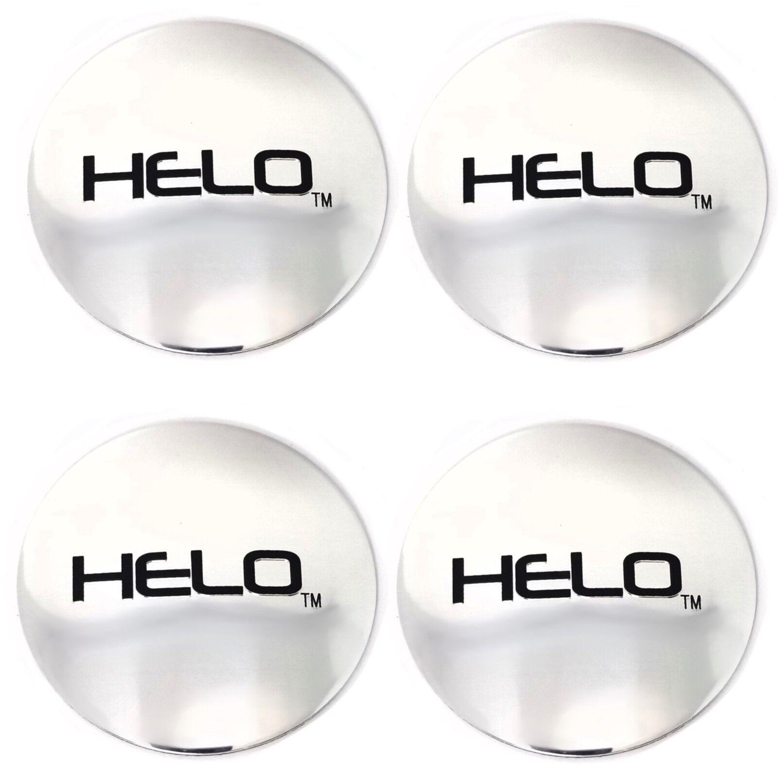 """Set of 4 Helo 2 1/2"""" (64mm) OD Chrome Wheel Center Hub Cap Logo/Sticker"""