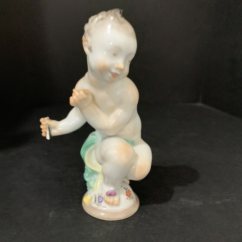 """Meissen Baby Sitting With Bow Figurine 5.5""""tall"""