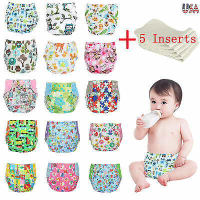 One Size Cloth Diapers + 5 Inserts Adjustable Reusable For B