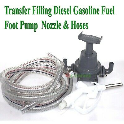 Transfer Refilling Gasoline Diesel Fuel Foot Pump Kit Manual Nozzle W 6 Hose