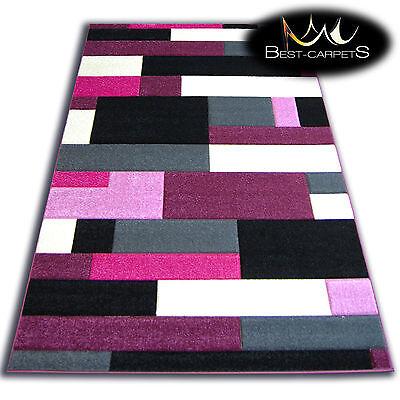 Cheap Purple Carpet (THICK MODERN RUGS 'PILLY' CARPETS ORIGINAL PURPLE BLACK GEOMETRIC CHEAP)