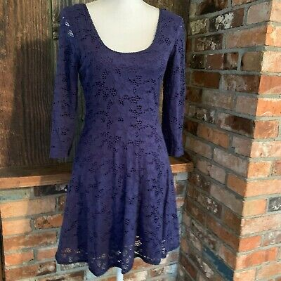 Free People Lace Dress Small Blue  Fit & Flare Skater Long Sleeve Scoop Back Long Sleeve Lace Dress