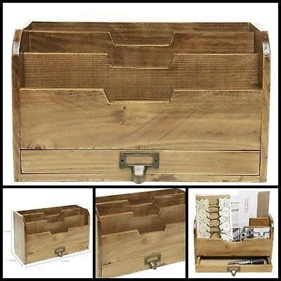 Country Rustic Brown Wood Office Desk File Organizer Mail Sorter Tray Holder - Office Trays