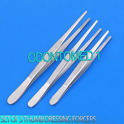 Set Of 3 Assorted Thumb Dressing Forceps Tweezers Serrated 4.5 5 6