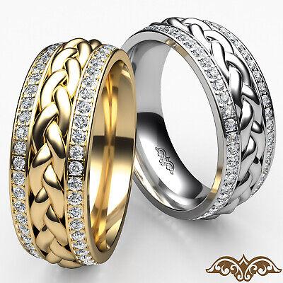Braided Diamond Pave Set Men's Eternity Wedding Band in 14k White Gold 0.57 Ct