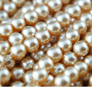 *140 pcs/strand 6mm Champagne Color Imitation Acrylic Round Loose Pearl Beads*