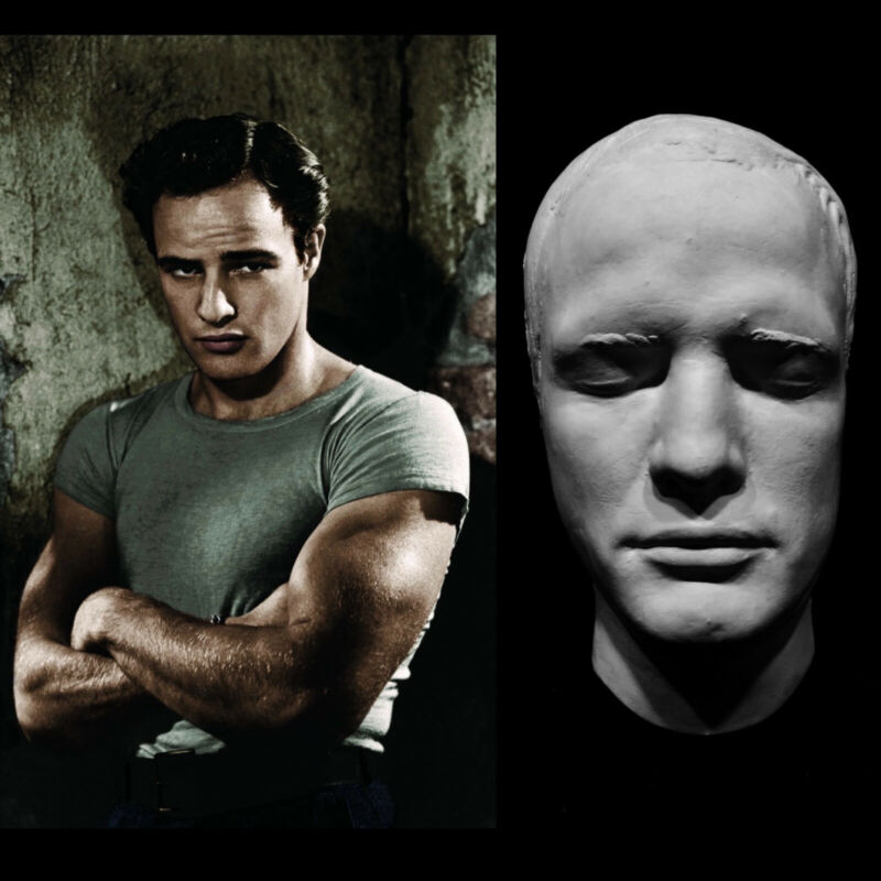 A Very Young Marlon Brando Life Mask The Wild One A Streetcar Named Desire RARE!