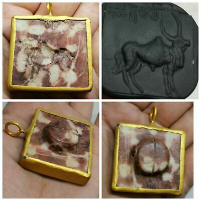 Antique jasper intaglio bull stone made as gold plated pendant #159