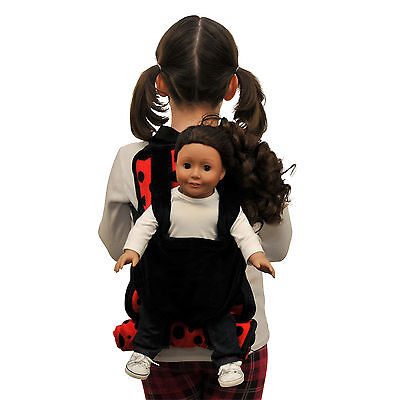 "Child Lady Bug Backpack+18 "" Inch American Girl Doll Carrier & Doll Sleeping Bag"