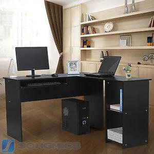 computertisch schreibtisch pc tisch b rotisch arbeitstisch b ro schwarz lcd810b ebay. Black Bedroom Furniture Sets. Home Design Ideas