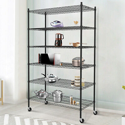 6 Tiers Black Adjustable Wire Shelves With Wheels Kitchen Shelving