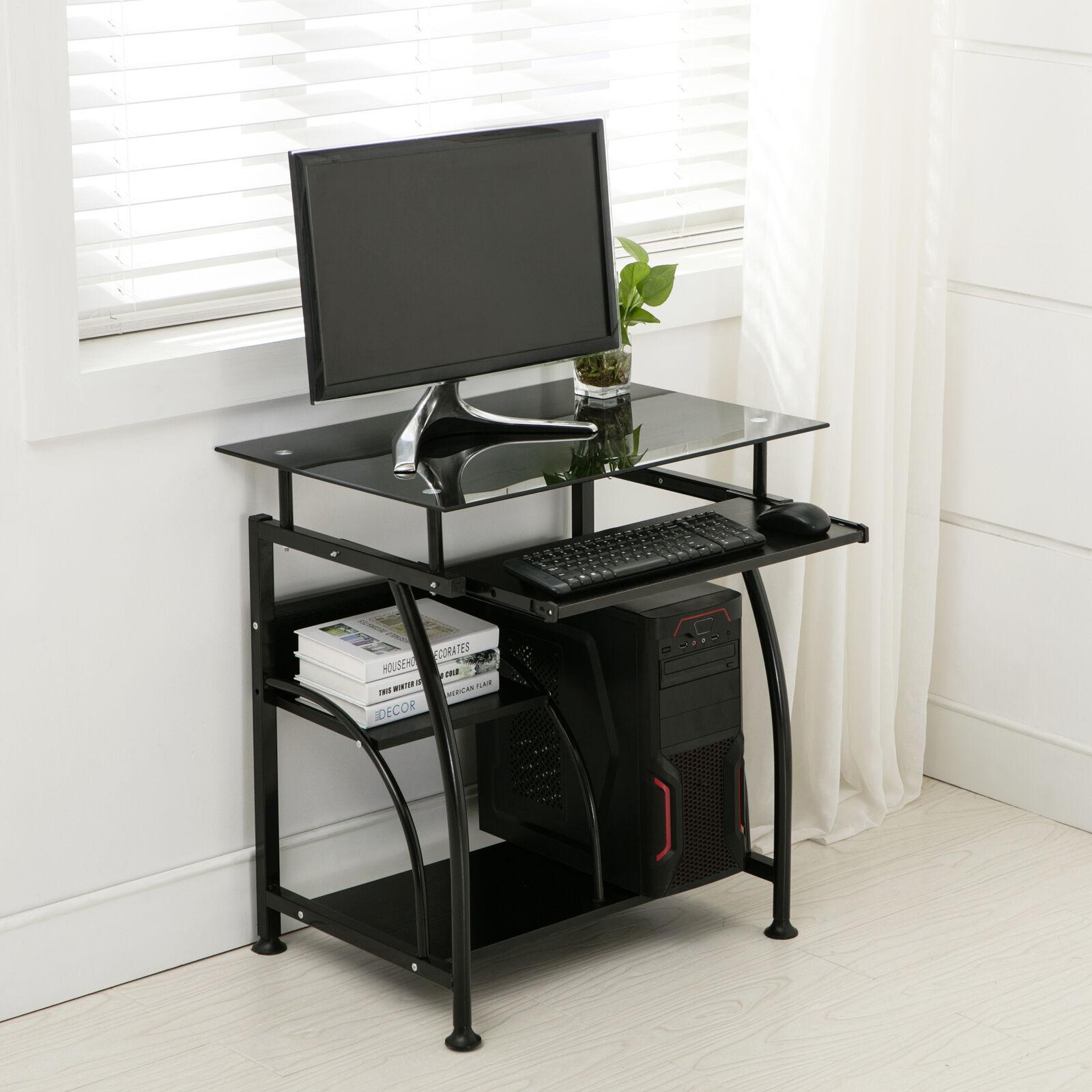 Black PC Corner Computer Desk Home Office Laptop Table