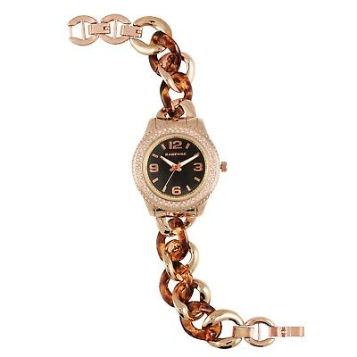 Rampage Women's Crystal Accented Bezel Rose Gold Links Bracelet Fashion Watch