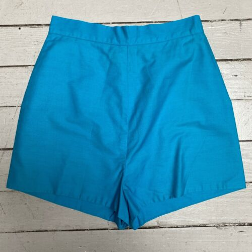 Vintage 1960s Blue Cotton High Waisted Pin Up Shorts XS