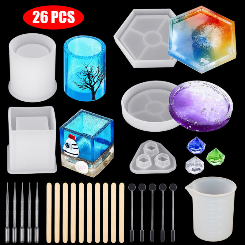 Silicone Resin Molds Holder Epoxy Casting Art Coaster Cup Pen Candle Mould DIY