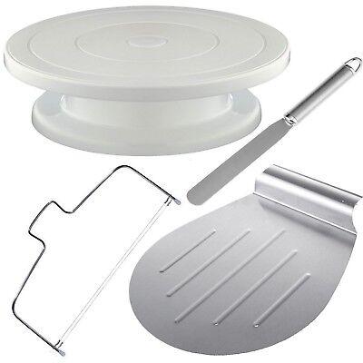 4tlg Tortenplatte Drehbar Streichpalette Kuchenretter Tortenboden Schneider Set  ()