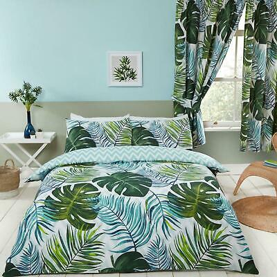 TROPICAL PALMS LEAF DUVET COVER SET SINGLE DOUBLE KING & CURTAINS AVAILABLE