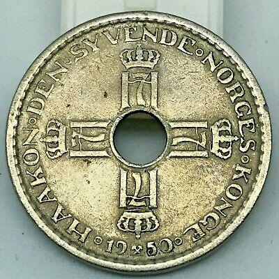 Norway Haakon VII Copper-Nickel 1950 1 Krone  KM # 385 for sale  Fresh Meadows
