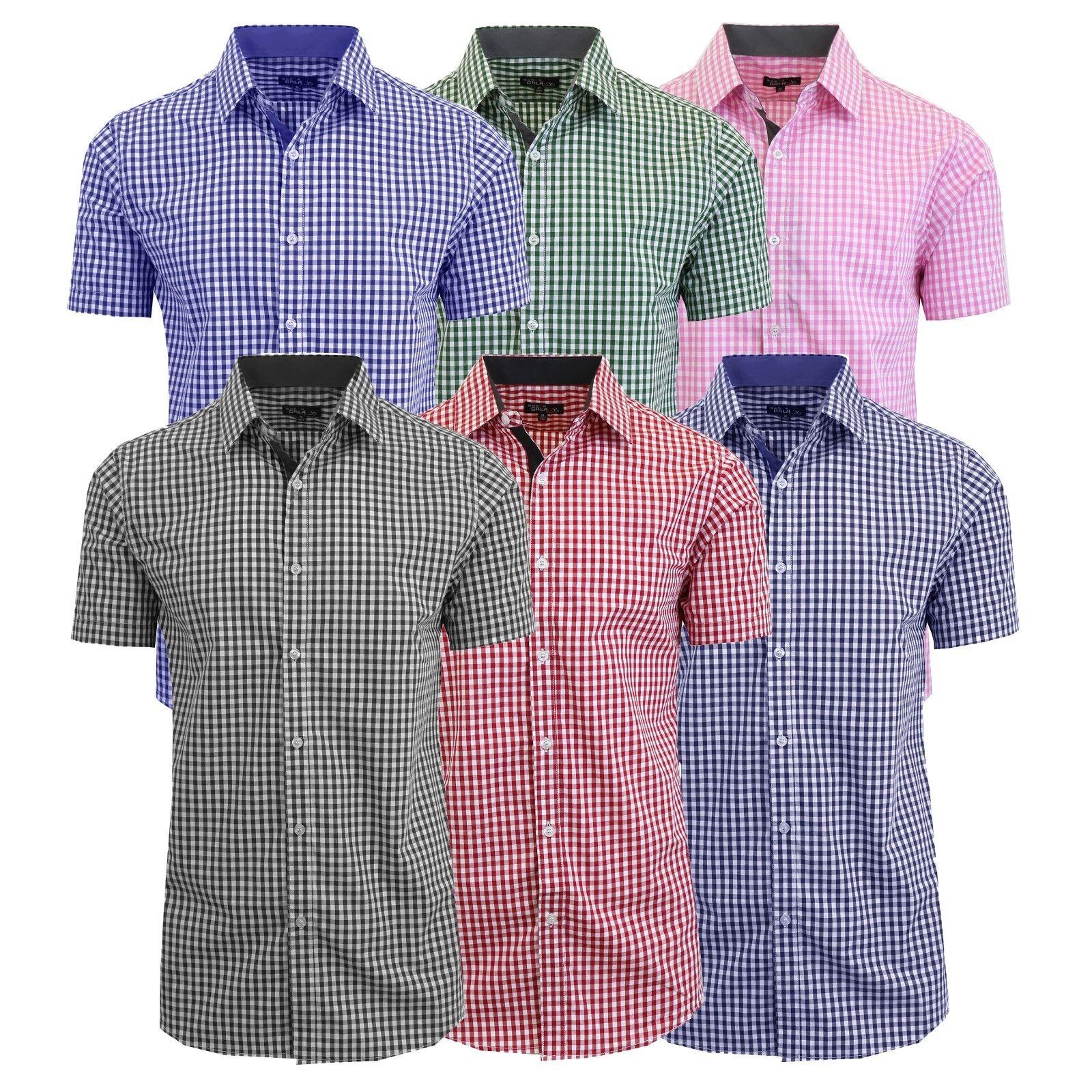 Mens Pink Gingham Short Sleeve Shirt Joe Maloy