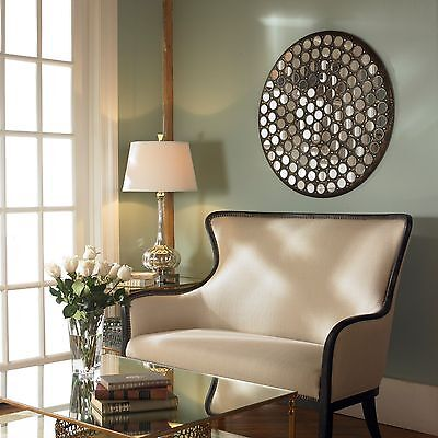 """NEW 35"""" SMALL ROUND MIRRORS SET IN AGED METAL FINISH FRAME WALL ART MIRROR"""