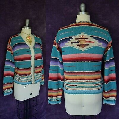 VTG Ralph Lauren Country Aztec southwest Mexican blanket serape sweater cardigan