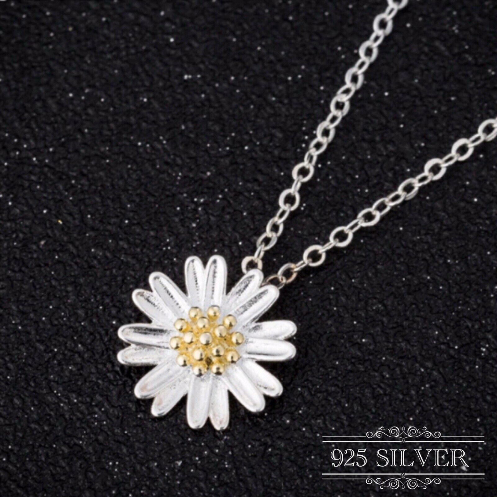 Jewellery - Daisy Pendant Necklace Silver 925 Sterling Sunflower Chain Flower Jewellery Lady