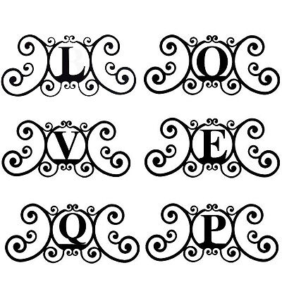 Wrought Iron Metal Scrolled Monogram Initial Letter Family House Plaque - Scrolled Wrought Iron