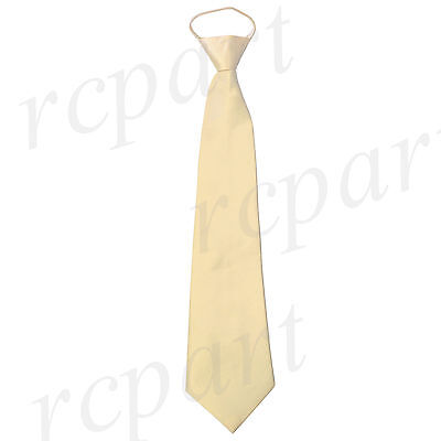 New formal men/'s pre-tied ready knot necktie polyester solid wedding silver