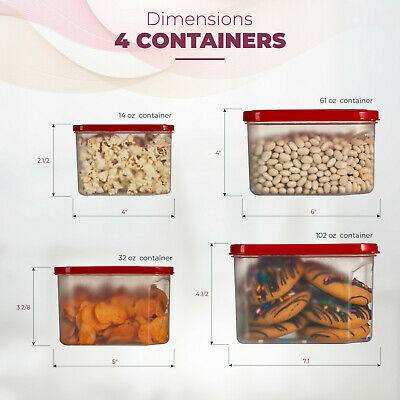 Food Storage Plastic Containers Reusable Square with Lids 4 Piece Set, BPA-Free. Square Food Storage Set