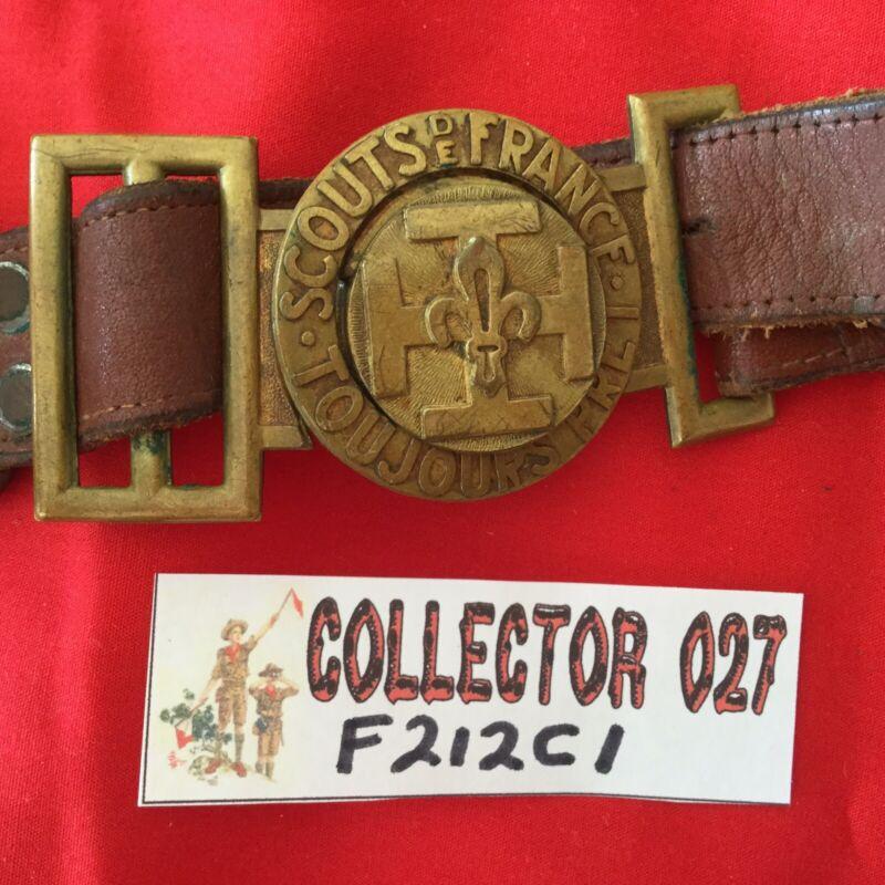 Boy Scout Scouts De France Toujours Pret Belt With 2 Piece Buckle 1947 World Jam