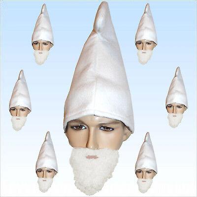 Kostüme 7 Zwerge (7 x Zwergenmütze weiß + Bart Hut f Zwerge Gnom Märchen Karneval Kostüm Fasching)