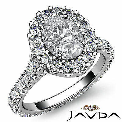 2.5 ct Oval Diamond Engagement 14k White Gold F VS2 Clarity GIA Halo Pave Ring 1